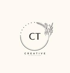 Ct beauty initial logo art handwriting logo vector