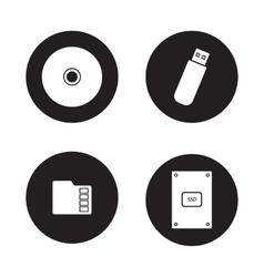 Data storage devices black icons set vector