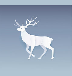 deer animal silhouette papercut horned reindeer vector image
