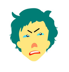 Dissatisfied man with a yellow face vector