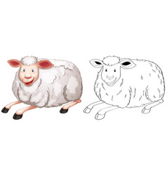 Doodle animal character for sheep vector