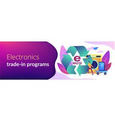 E-waste reduction concept banner header vector