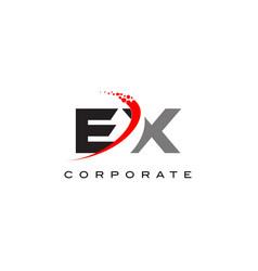 Ex modern letter logo design with swoosh vector