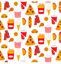 fast food seamless pattern with pizza soda vector image