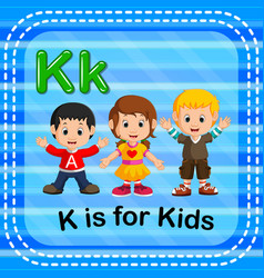 Flashcard letter k is for kids vector