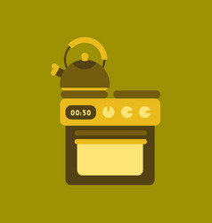 Flat icon on background coffee kettle stove vector