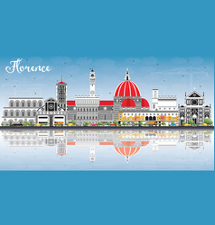Florence italy city skyline with color buildings vector