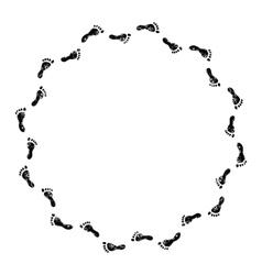 Footprints black and white circle frame vector