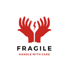 Fragile handle with care hand glass logo icon vector