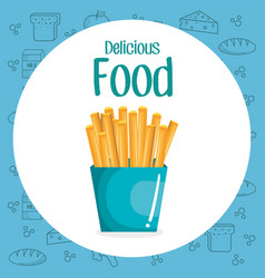 french fries fast food menu vector image