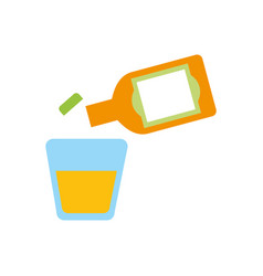 glass and botlle of tequila alcoholic cocktail vector image