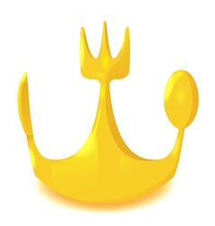 Gold Crown Spoon Knife Fork vector image