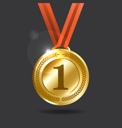 gold medal with wreath golden shining award vector image
