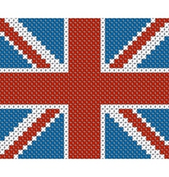 Great Britain flag background made with embroidery vector