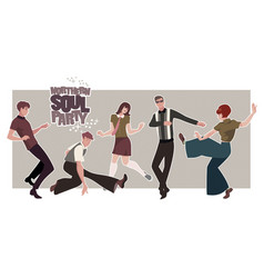 group of five young people wearing retro clothes vector image