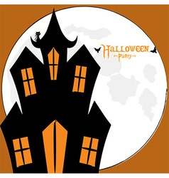 Halloween spooky house card vector