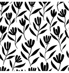 hand drawn brush flower seamless pattern vector image