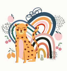 hand drawn contemporary leopard fruits trendy vector image