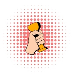 Hand holding trophy cup icon comics style vector