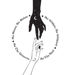 Hand universe reaching out to human hand vector