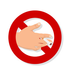 hand with cigarette no smoking sign vector image