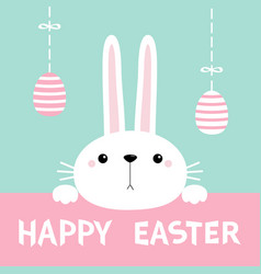 Happy easter bunny rabbit hanging eggs cute vector