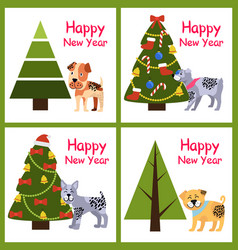 happy new year posters set xmas dogs symbol trees vector image
