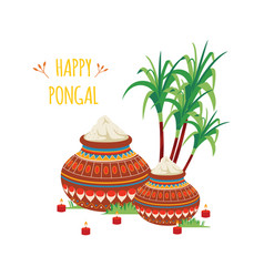 happy pongal design indian clay pots with rice vector image