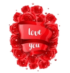 Happy Valentine day greeting card with red vector image