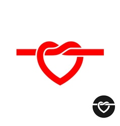 heart knot silhouette logo simple red rope vector image