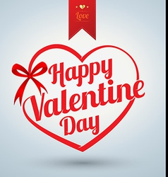 Heart ribbon with Happy valentine day text vector