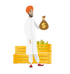 Hindu farmer holding a money bag vector
