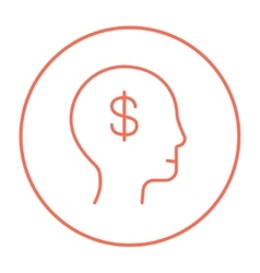 Human head with dollar symbol line icon vector image