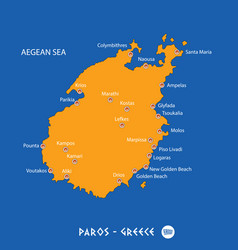 Island of paros in greece orange map and blue vector