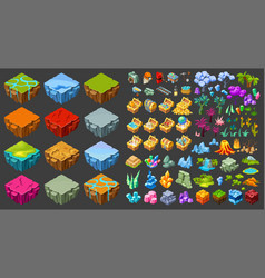 Isometric game landscape icons set vector