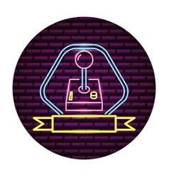 joystick video game neon vector image