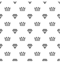 King and queen crown and brilliant on seamless vector