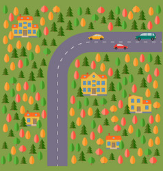 Landscape with the road forest cars vector