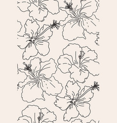 Line art floral hibiscus pattern seamless fabric vector