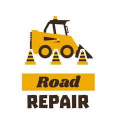 Logo mini loader road repair asphalt processing vector