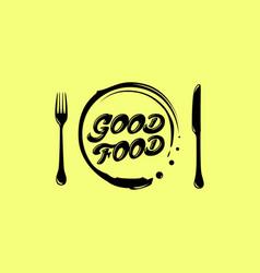 love eat logo cafe or restaurant emblem knife vector image