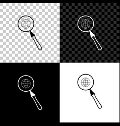 magnifying glass with globe icon isolated on black vector image