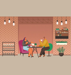 man and woman on date friends in coffeehouse vector image