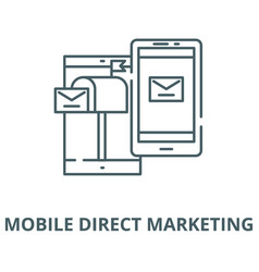 Mobile direct marketing line icon linear vector