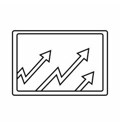 Monitor with charts icon outline style vector image