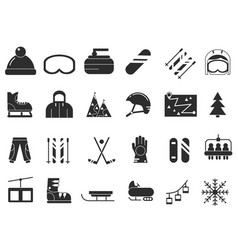 Monochrome icon set of winter sport black vector