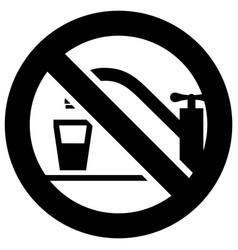 no drinking water forbidden sign modern round vector image