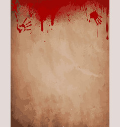 old paper background with dripping blood bloody vector image