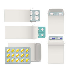 Opened paper packaging with medicine blisters vector