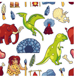 prehistoric hand drawn seamless pattern vector image